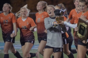 Taylor Sammons celebrates with teammates