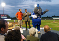 mascot at baseball game